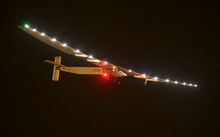 Solar Impulse 2 just before landing at the Nanjing Lukou International Airport in China.