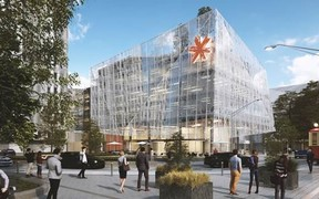 An artist's impression of the planned Spark building in Christchurch's Cathedral Square.