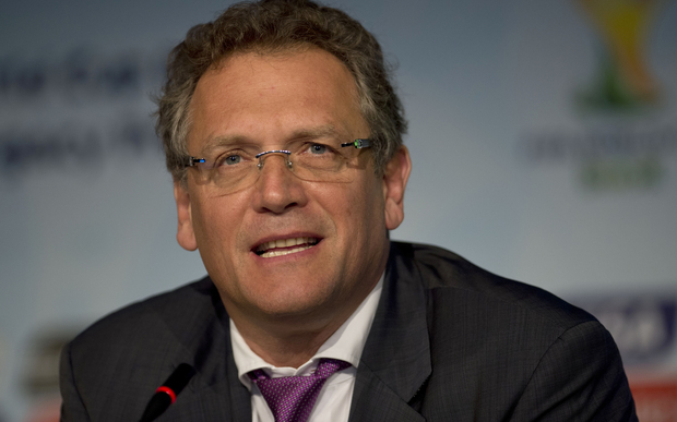 FIFA's Jerome Valcke speaks during a press conference in Sao Paulo, Brazil, on 20 January.