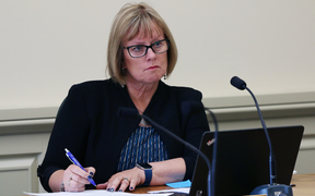 National MP for Taranaki-King Country, Barbara Kuriger listens to a submission to the Health Committee on a petition to permit medically-assisted dying.