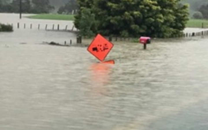 Flooding in the Coromandel, at the turnoff to Pauanui.