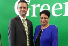 New Green Party co-leadership team James Shaw and Metiria Turei on 31 May 2015.