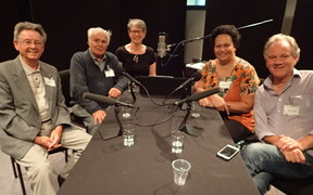 Former NZSO players (l-r) Alan Gold, Farquhar Wilkinson (Eva Radich); Wilma Smith and Kenneth Young