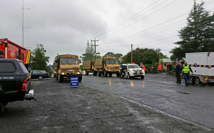 Army trucks at Hunua School, east Auckland. Flooding on 8 March 2017.