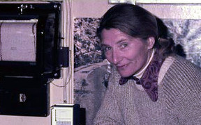 Edith Farkas with meteorological instruments at the base during her time in Antarctica.