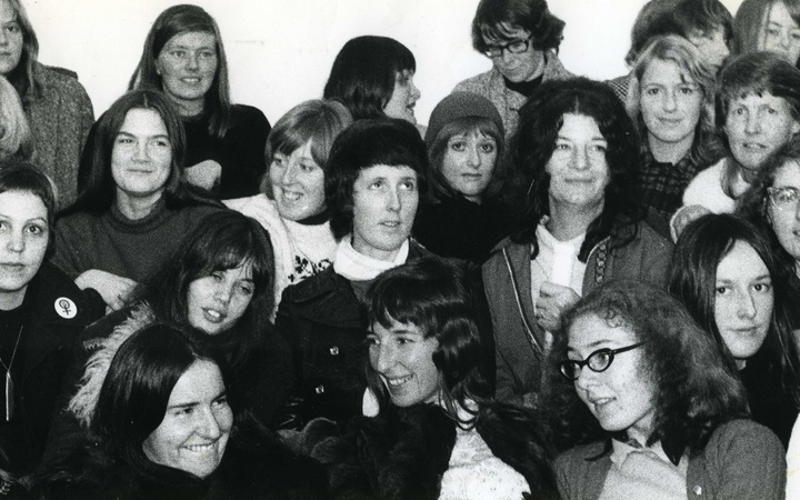 "Auckland Women's Liberation at Kitty Wishart's house in Princes St about 1972. Sandra Coney is second from right, second from the top. ""I remember everyone of these women vividly,"" she says."