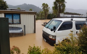 Flooding in Neil Lamb's Coromandel home.