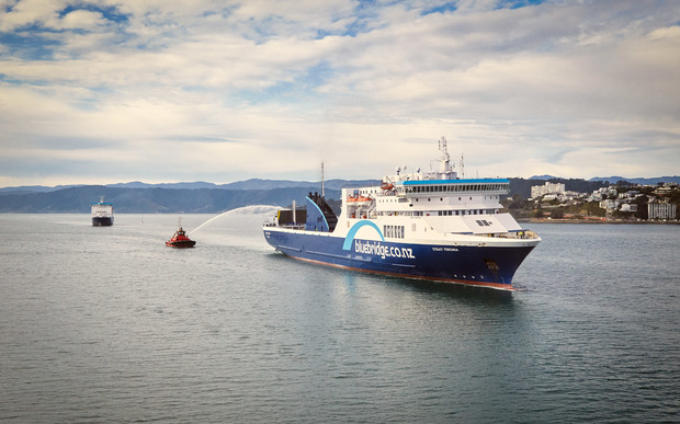 The new Strait Feronia sailing in to Wellington harbour.