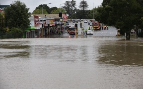 Flooding in New Lynn, west Auckland.