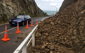 Heavy rain in Wellington caused a small slip at Breaker Bay.