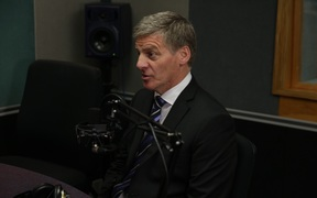 Bill English in the Morning Report studio