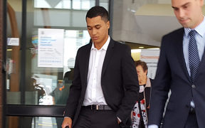 James Rolleston outside court after pleading guilty to dangerous driving.