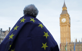 A pro-European Union protestor stands outside the Houses of Parliament.