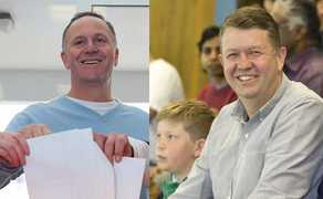 John Key and David Cunliffe on election day.