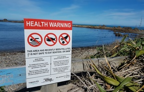 Signs were put up warning of health risks.