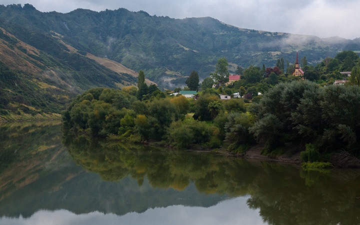 A view of the settlement of Jerusalem on the banks of the Whanganui River