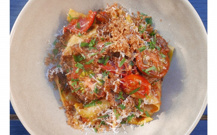 Braised rabbit pappardelle with tomatoes & leek by Dariush Lolaiy