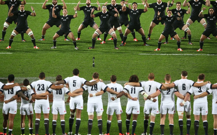 The All Blacks perform the haka during the third rugby test against England at Waikato Stadium in Hamilton during the Steinlager Series - 21 June 2014.