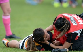 Waikato's Stacey Waaka is checked for concussion during the Women's Rugby NPC semifinal in October 2015.