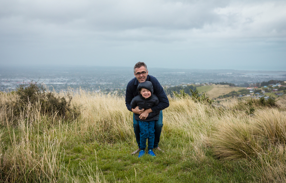 Sean Scanlon with his son in the Port Hills