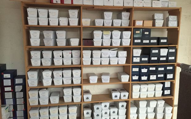 The wall of unclaimed ashes at J Weir & Co Funeral Directors in Onehunga.