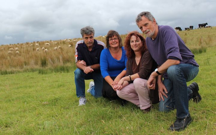 Members of Massey University's leptospirosis research group. From left to right, Neville Haack, Jackie Benschop, Julie Collins-Emerson and Cord Heuer.