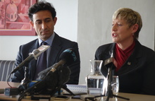 Mayor Lianne Dalziel and councillor Raf Manji this morning.