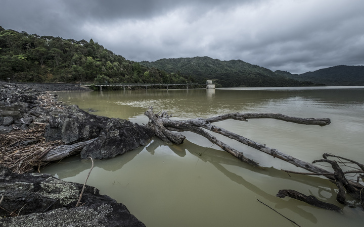 Mangatawhiri Dam in Hunua with the discolouration caused by sediment after the deluge from storms a few weeks earlier.
