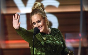 Adele accepts the award for Record of the Year for 'Hello,' onstage during The 59th GRAMMY Awards at STAPLES Center on 12 February, 2017 in Los Angeles, California.