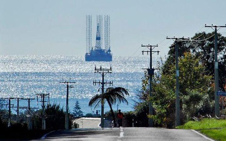 A drilling rig off the coast of Taranaki