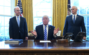 US President Donald Trump, with Vice President Mike Pence and Health and Human Services Secretary Tom Price, speaks from the Oval Office of the White House in Washington DC after his healthcare bill was pulled.