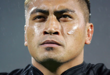 Jerry Collins listens to the national anthem during a match between the All Blacks and France in Lyon in 2006.