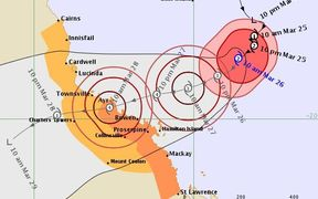 map of cyclone Debbie
