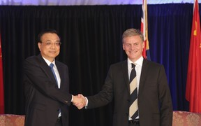 Chinese Premier Li Keqiang and New Zealand Prime Minister Bill English.