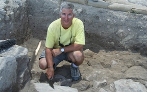 Dr Eric Cline excavating at Megiddo