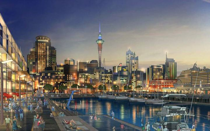 An artist's impression of Auckland's waterfront in 2050.
