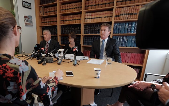 Rodney Harrison QC, left, Deborah Manning, and Richard McLeod announce they are to act for Afghan families affected by the 2010 SAS raid.