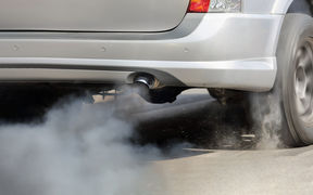 Air pollution from a car's exhaust pipe (file photo)