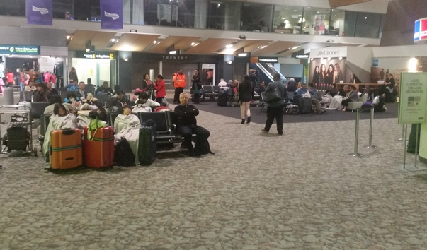 Fog delays flights at Wellington Airport where passengers slept overnight in the terminal. photo taken 30 March.