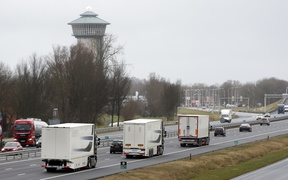 Self-driving trucks near in Zwolle, The Netherlands, 09 February 2015, during the first test in the world where self-driving trucks take part in the traffic on a public road.