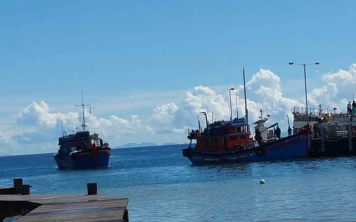 Vietnamese blue boats seized on Sunday in Solomon Islands Rennell and Bellona province, for allegedly fishing illegally off of Indispensable Reef, dock at the Patrol Boat Base in Honiara on Wednesday 29-03-2017.