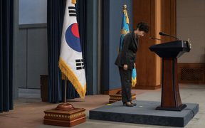 South Korea's President Park Geun-Hye bows prior to delivering an address to the nation at the presidential Blue House in Seoul after the impeachment was upheld.