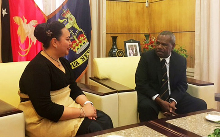 Princess Latufuipeka Tuku'aho and the Governor General of Papua New Guinea, Mr Bob Dadae, KStJ.
