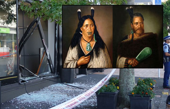 The 'Chieftainess Ngatai-Raure' and 'Chief Ngatai-Raure' (inset) were stolen from the International Art Centre in Parnell.
