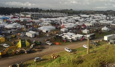 The view from the hill overlooking the set-up at the 2015 Fieldays.