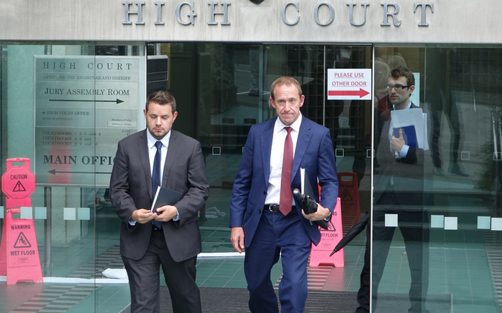 Andrew Little leaving court
