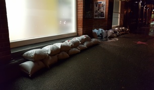 Sandbags outside Sarjeant on the Quay gallery.