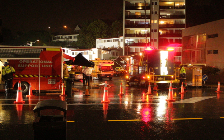 Emergency services on the scene after the slip hit the San Remo apartments at 11 Kohimarama Road, Auckland.