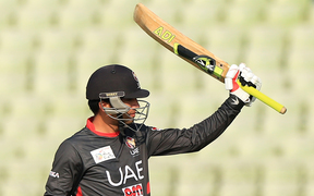 UAE's Rohan Mustafa reacts after scoring a half-century during Asia Cup T20 qualification in 2016