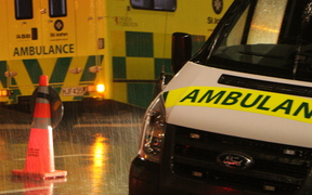 Ambulances at 11 Kohimaramara Rd, Auckland after the slip which went into the San Remo apartments.